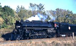 The 261 steam train on tracks outside Red Wing, MN