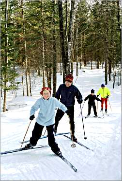 Skiers at Afterglow Resort.