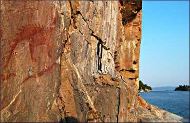The pictographs at Agawa Bay.