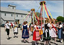 Maypole dancers in Amana.