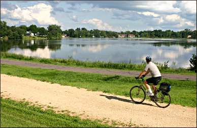 Bicycling by South Twin Lake.