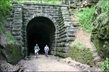 Bicyclists on the Badger State Trail.