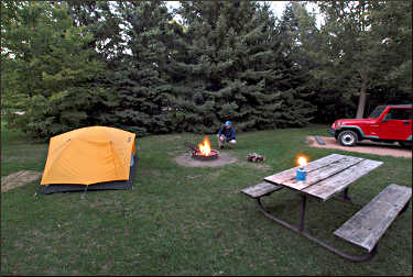 A campsite at Baker Park Reserve.