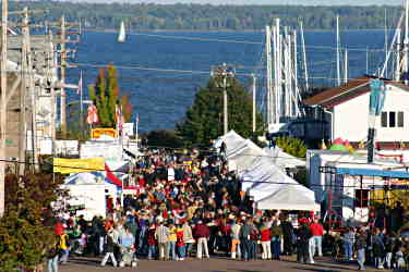 View of Applefest crowd from hill