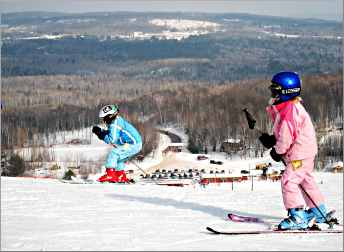 Children skiing at Mount Ashwabay.