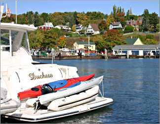 Bayfield's marina is filled with sailboats and yachts.