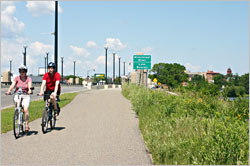 Bicycling near downtown Bemidji.