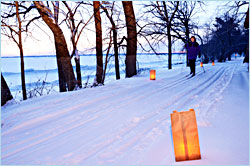 Candlelight skiing in a state park.