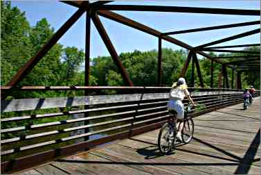 Near Cedarburg, a bicyclist rides the Ozaukee Trail.