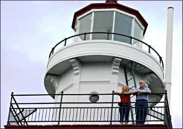 Guests at Big Bay lighthouse admire the view.