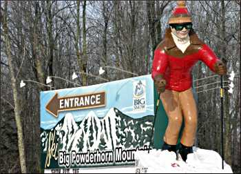 Skier mascot at Big Powderhorn.