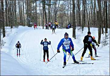 Skiers on the Birkie Trail.