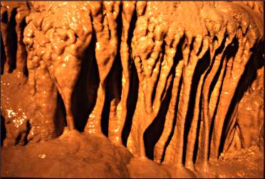 Flowstone in a cave.