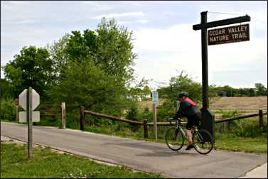 Bicyclists on the Cedar Valley Nature Trail.