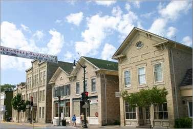 Historic buildings on Cedarburg's Washington Avenue.