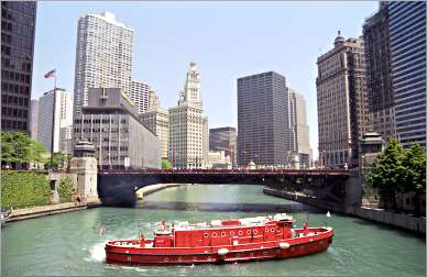 A fireboat on the Chicago River.