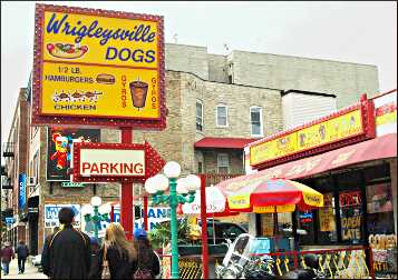 Hot dog stand in Chicago.