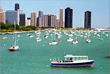 A tour boat on Chicago's lakefront.