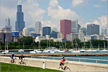 bicyclists along Chicago's Lakefront Trail