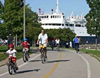 A family bicycles on Chicago's Lakefront Trail.