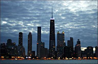 Chicago's skyline at night.