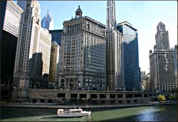 Buildings along the Chicago River.