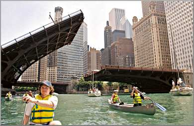 Canoeists paddle on the Chicago River.