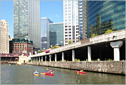 Kayaks on the Chicago River.