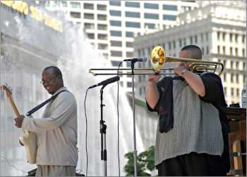 Jazz musicians play on a Chicago bridge.
