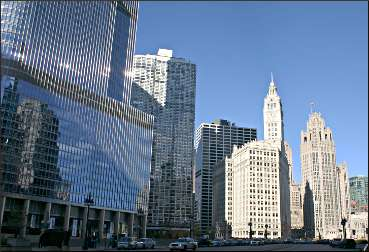 Trump and Tribune towers in Chicago.