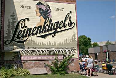 A Leinenkugel sign in Chippewa Falls.