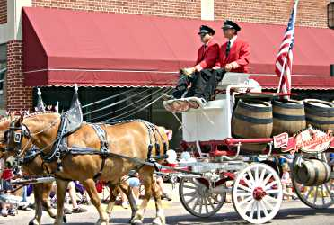 Leinenkugel's beer wagon goes down Bridge Street during Pure