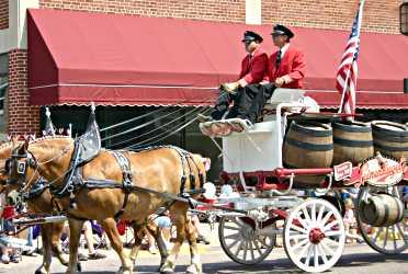 Leinenkugel's beer wagon goes down Bridge Street during Pure