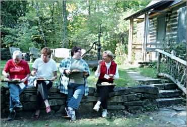 Students eat lunch at the Clearing.