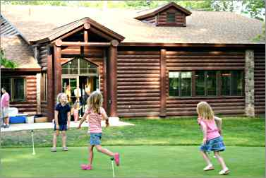 children play at Keweenaw Mountain Lodge