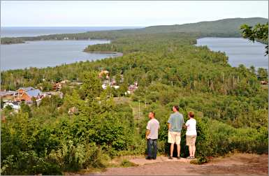 The view of Copper Harbor from Brockway Mountain Drive.