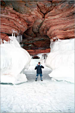 A boy at the Apostles ice caves.