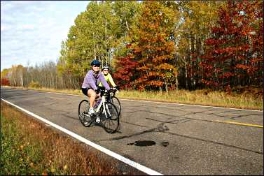 Bicycling around Crosby in fall.
