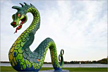 Kanabec, the fiberglass serpent, in Crosby, Minn.