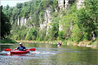 A kayaker on the Upper Iowa River.