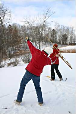 Atlatl throwers at Deep Portage Conservation Reserve.
