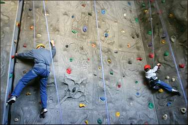 Climbing wall at Deep Portage.