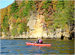 Kayaking on the Wisconsin River in fall.