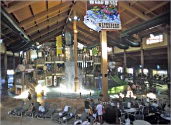 An indoor water park at Wilderness Resort.