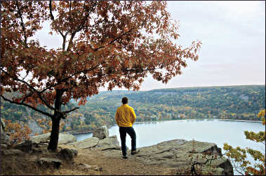 A hiker at Devil's Lake State Park.