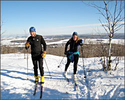 Skiers on Bardons Peak in Duluth.