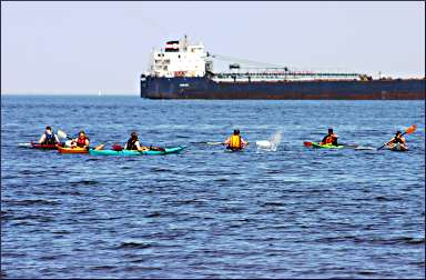 A kayak class off Duluth's Park Point.