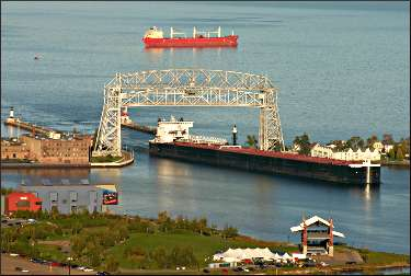 Boats coming into Duluth harbor.