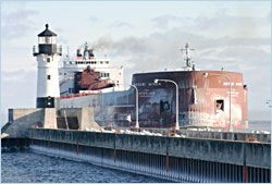 Ore boat arriving in Duluth.
