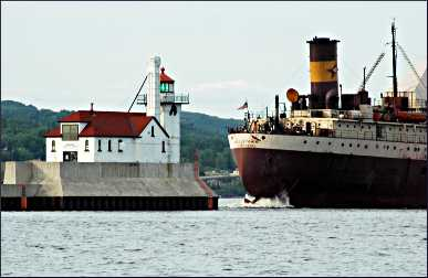A Great Lakes freighter in Duluth.